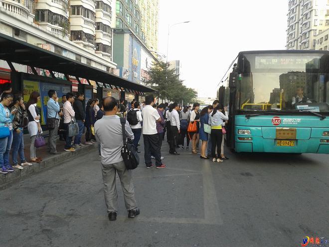实拍深圳龙华民治上班族坐公交与开车一目